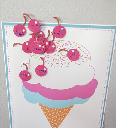 Pin the Cherry on the Ice Cream Cone Birthday Idea