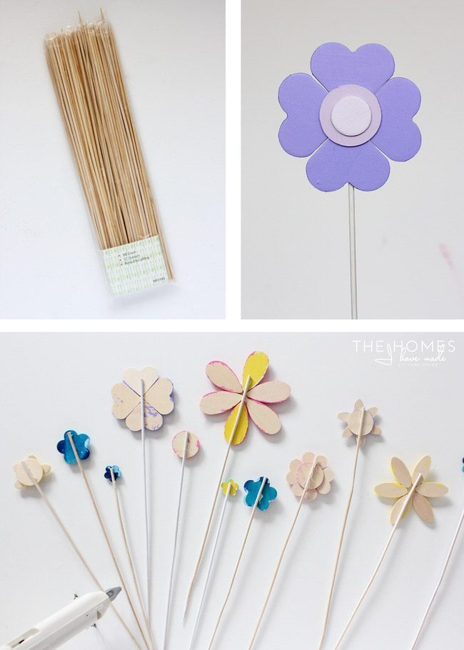Use a variety of Springtime paint colors to create adorable flower cake toppers!