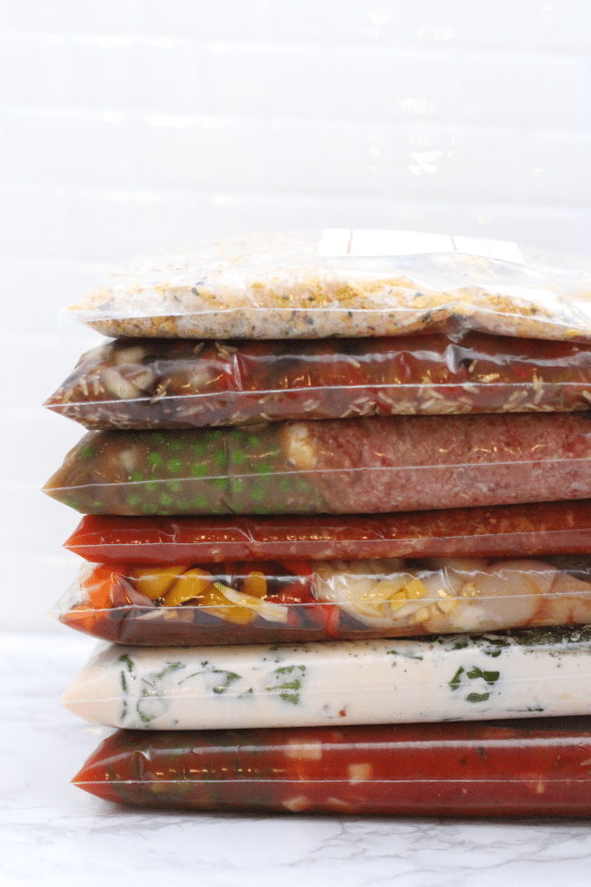 Freezer Meals in a stack