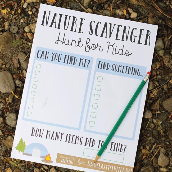 Printable Nature Scavenger Hunt for Kids via Classy Clutter