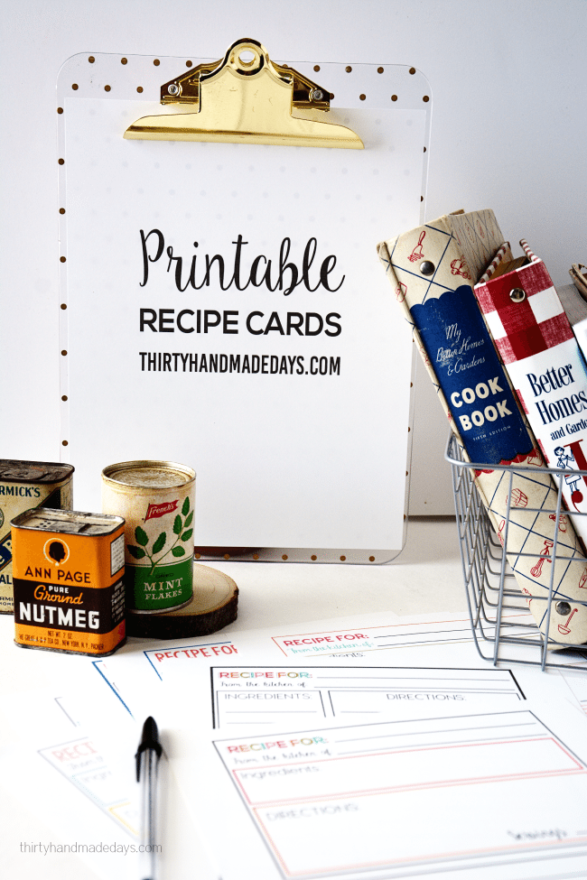 Cute Printable Recipe Cards available from www.thirtyhandmadedays.com