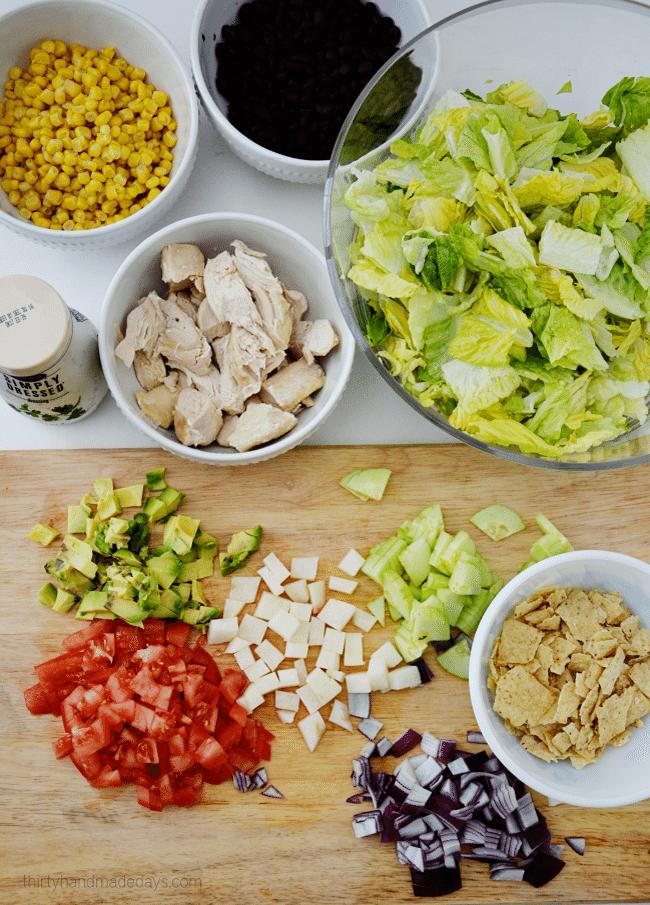 Santa Fe Chicken Salad ingredients from www.thirtyhandmadedays.com