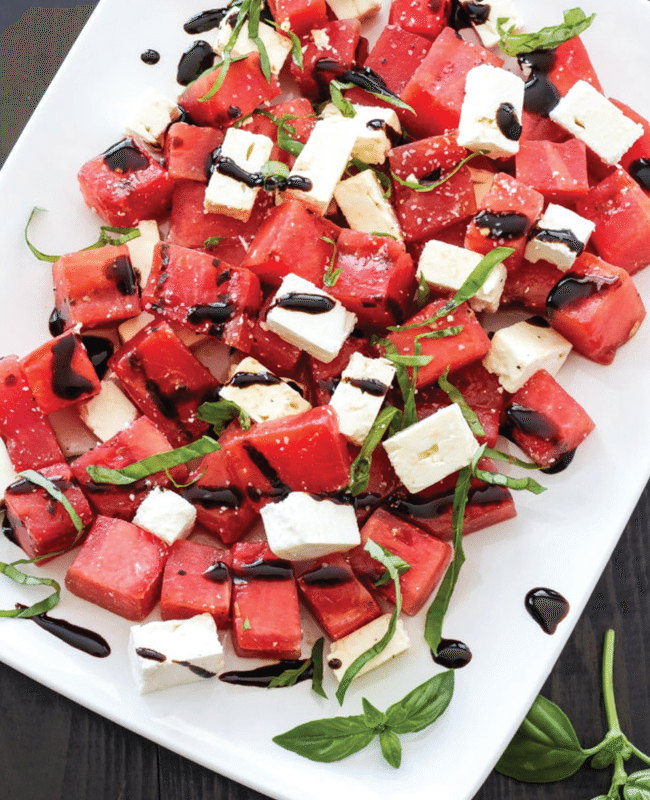 Grilled Watermelon, Feta, Basil Salad