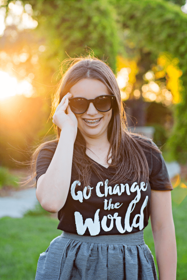 Go Change the World tee + sunglasses - Cute, modest summer outfits for teens from www.thirtyhandmadedays.com