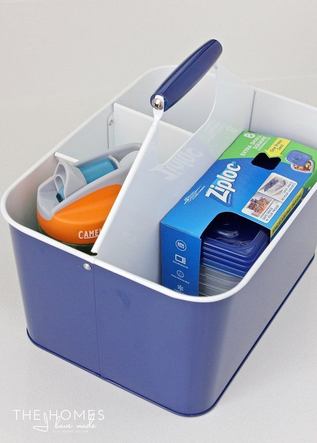 Search for bottles and containers that fit your caddie to hold snacks and drinks!