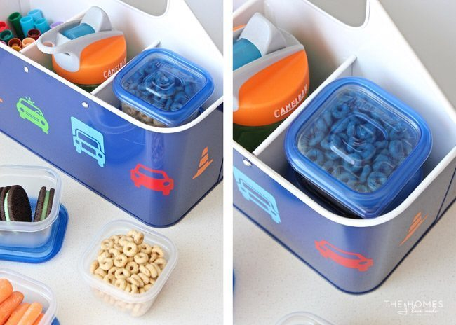 Make single serving snacks using mini Ziplock plastic containers.