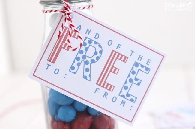 4th of July Gift Idea- cute jar with printable! from CraftingE