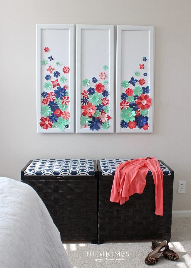 With a stack of colorful cardstock (and a scissors or e-cutter!) you can make inexpensive, easy, and eye-popping flower artwork for anywhere in your home!