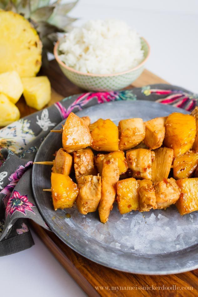 Pineapple Chicken Skewers - perfect for a summer barbecue -My Name is Snickerdoodle via Thirty Handmade Days