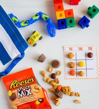 Fun tic tac toe game using Reese's Snack Mix from My Name is Snickerdoodle