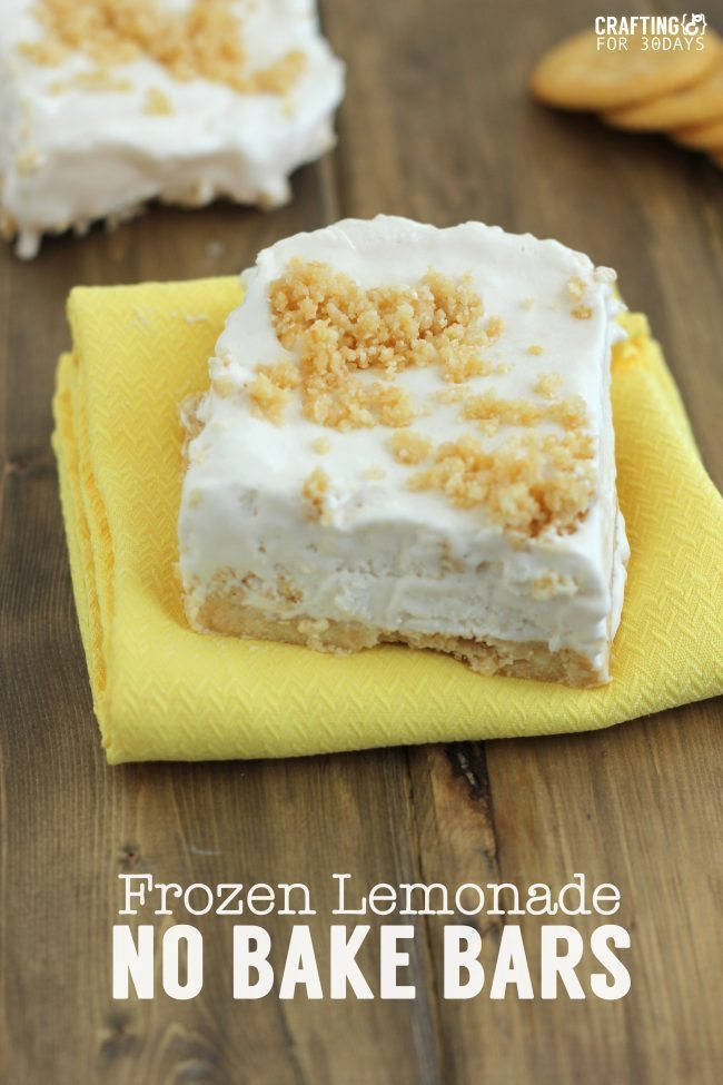Frozen Lemonade No Bake Bars from CraftingE via www.thirtyhandmadedays.com