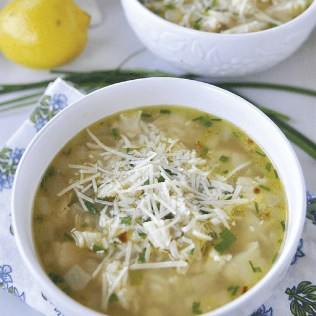 Lemon Parmesan Chicken and Rice Soup