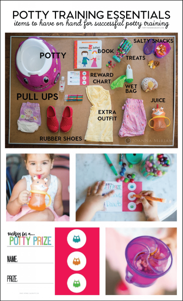 Potty Training Essentials - items to have on hand for successful potty training from www.thirtyhandmadedays.com