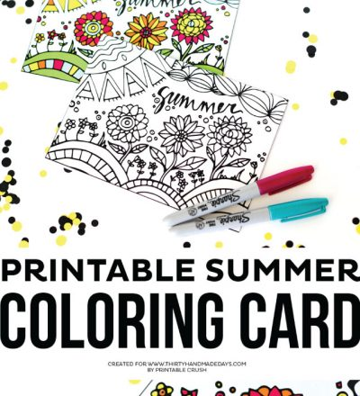 Printable Summer Coloring Card from Printable Crush