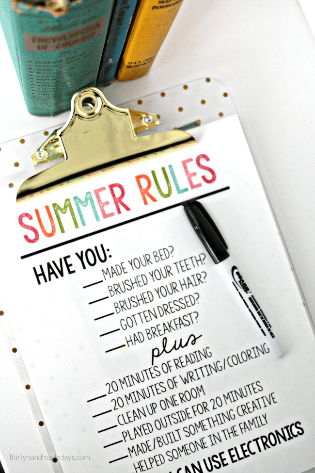 Printable Summer Rules via www.thirtyhandmadedays.com