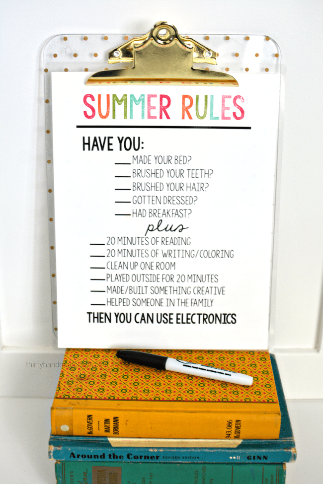 Printable Summer Rules from www.thirtyhandmadedays.com - help get kids on track and stay off electronics.
