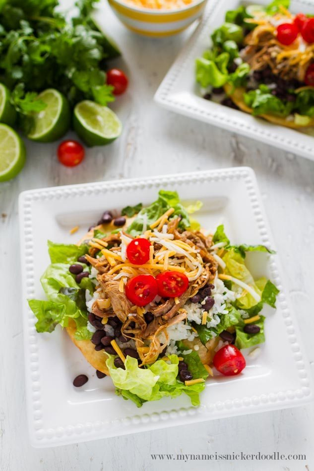 Cilantro Lime Pork Tostada Salad - a delicious dinner and main dish! from My Name is Snickerdoodle via thirtyhandmadedays.com