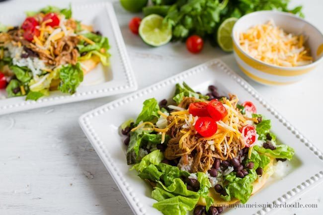 Cilantro Lime Pork Tostada Salad - a delicious dinner and main dish! from My Name is Snickerdoodle