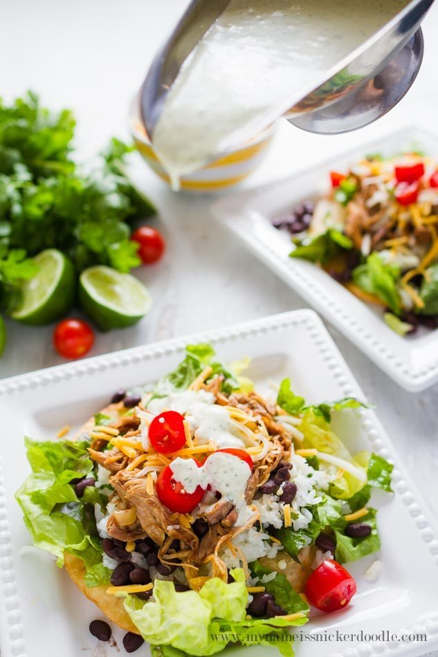 Cilantro Lime Pork Tostada Salad - a delicious dinner and main dish! from My Name is Snickerdoodle via www.thirtyhandmadedays.com