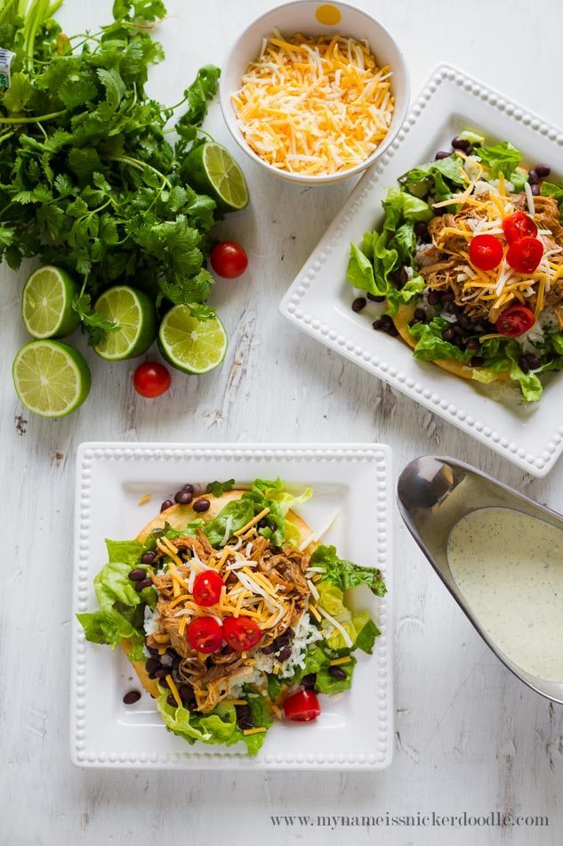 Cilantro Lime Pork Tostada Salad - a delicious dinner and main dish!