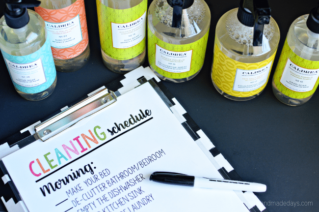 Printable Cleaning Schedule - simple way to keep on top of daily chores. Use a dry erase marker to check each item off each day. from ww.thirtyhandmadedays.com