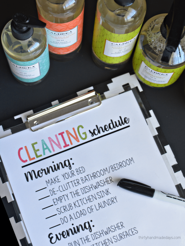 Printable Cleaning Schedule -easy way to keep track of daily jobs and check off. With Caldrea deal from Grove Collaborative from ww.thirtyhandmadedays.com