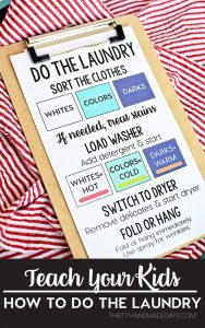 Teach Your Kids How to Do the Laundry! Help with back to school routines --- www.thirtyhandmadedays.com