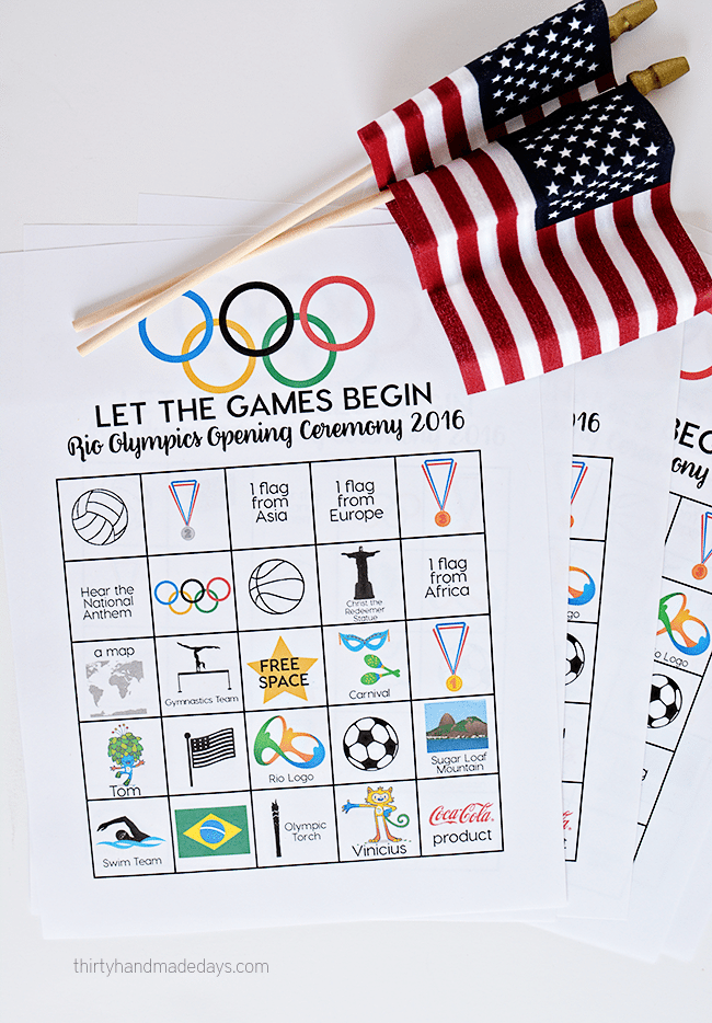 Rio Olympics Opening Ceremony BINGO - download and print these BINGO sheets for the Opening Ceremony. thirtyhandmadedays.com