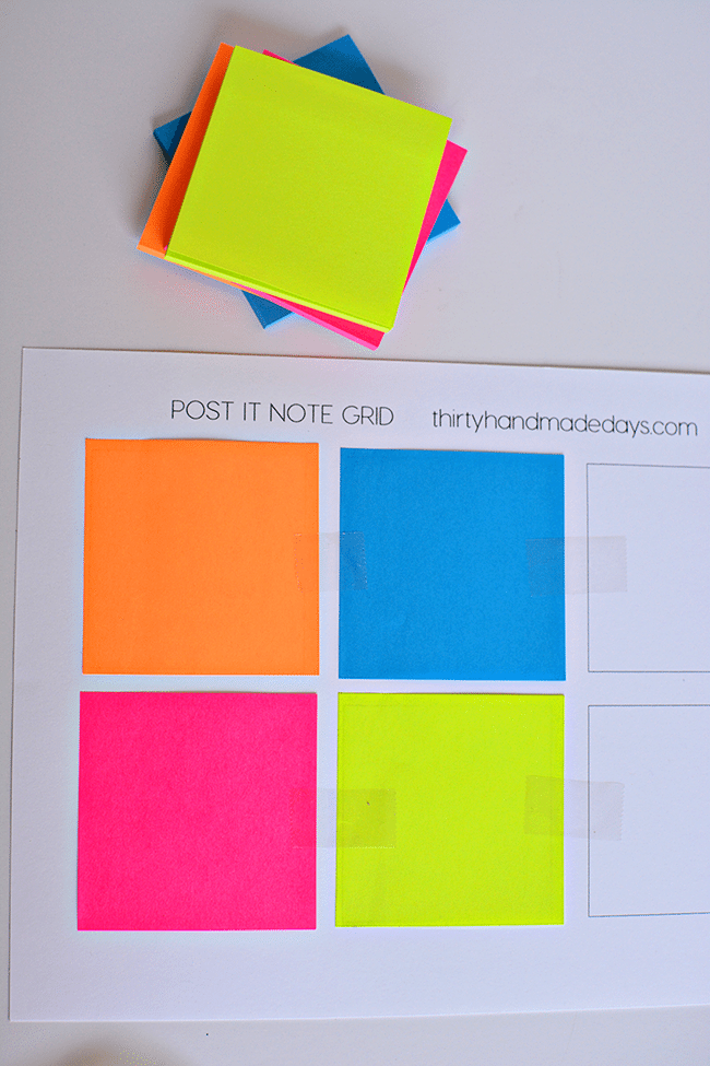 Supplies needed to make your own visual reminders for Kids Daily Routines - perfect for back to school! With Post It Notes. thirtyhandmadedays.com