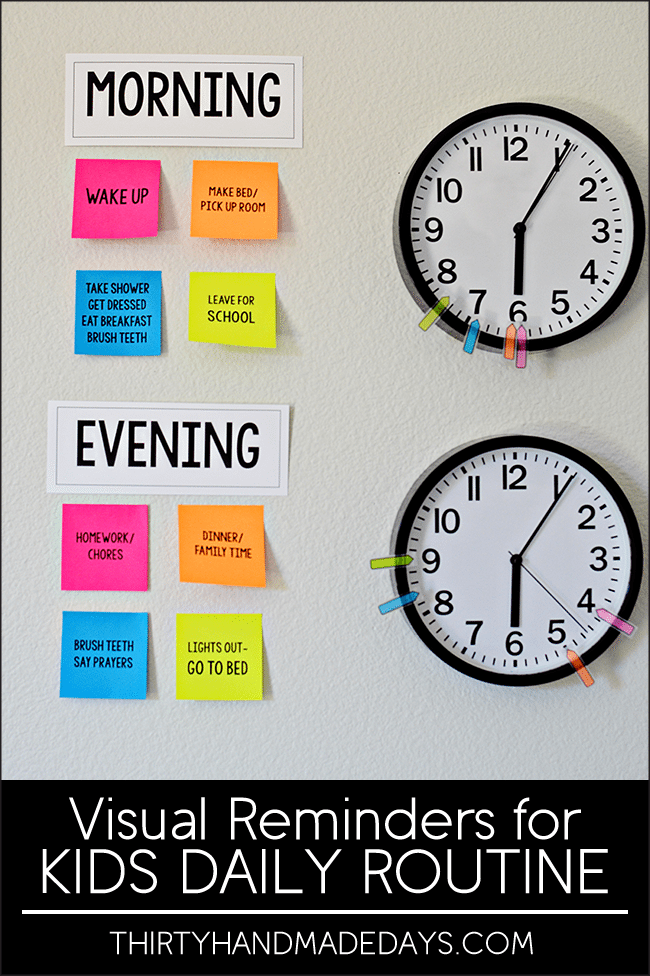 Make your own visual reminders for Kids Daily Routines - perfect for back to school! With Post It Notes. www.thirtyhandmadedays.com