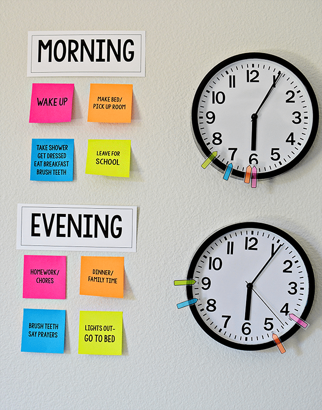 Make your own visual reminders for Kids Daily Routines - perfect for back to school! With Post It Notes with free printables from thirtyhandmadedays.com