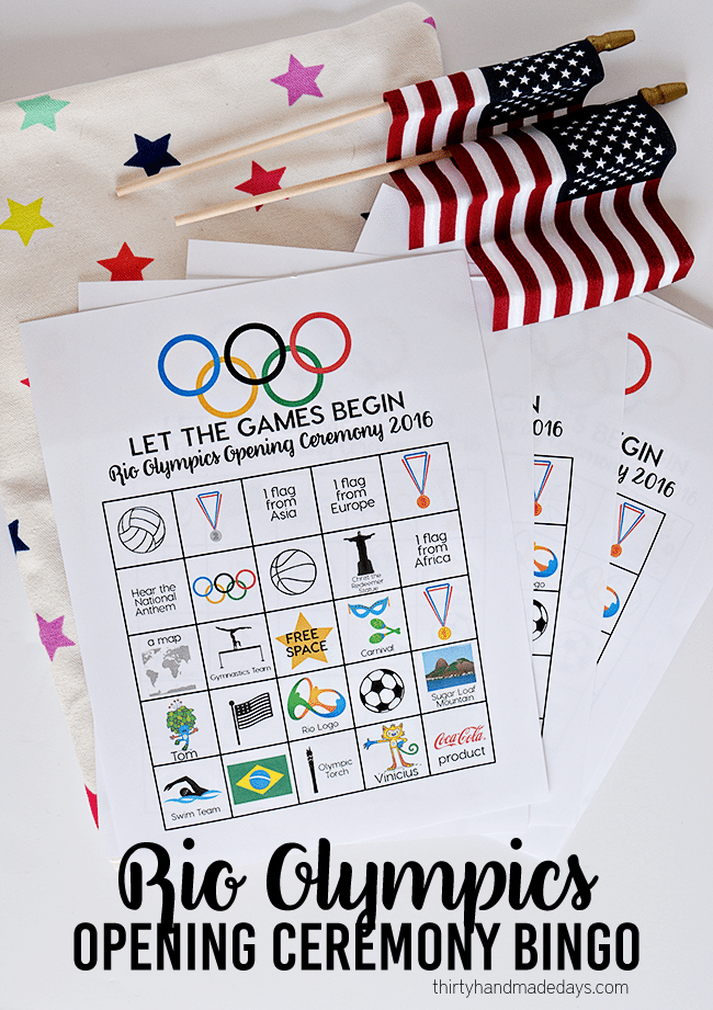 Rio Olympics Opening Ceremony BINGO - download and print these BINGO sheets for the Opening Ceremony. www.thirtyhandmadedays.com