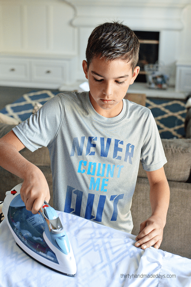 Teaching kids How to Iron - help your kids become more independent, teach them how to care for their clothes. via www.thirtyhandmadedays.com