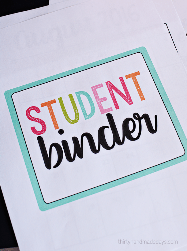 Great for back to school - Student Binder - Includes FREE printables! thirtyhandmadedays.com