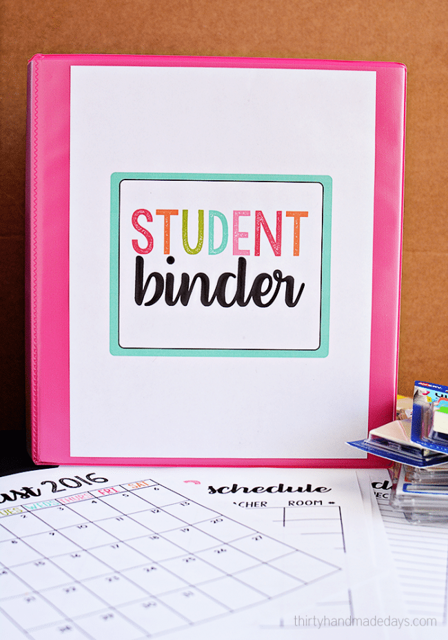 graphic about Free Binder Printables titled University student Binder with Cost-free Printables - 30 Home made Times
