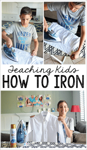 Teaching kids How to Iron - help your kids become more independent, teach them how to care for their clothes. www.thirtyhandmadedays.com