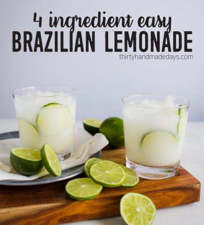 4 Ingredient Easy Brazilian Lemonade/Limeade from www.thirtyhandmadedays.com