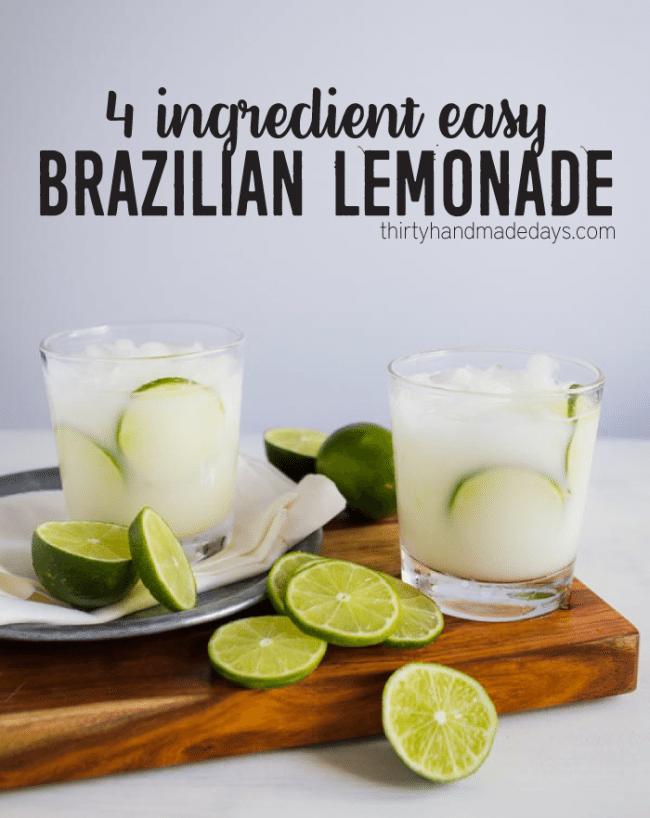 4 Ingredient Easy Brazilian Lemonade from www.thirtyhandmadedays.com
