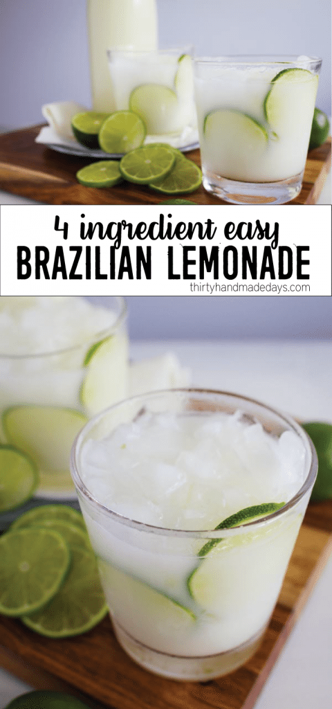 4 Ingredient Easy Brazilian Lemonade/Limeade from thirtyhandmadedays.com