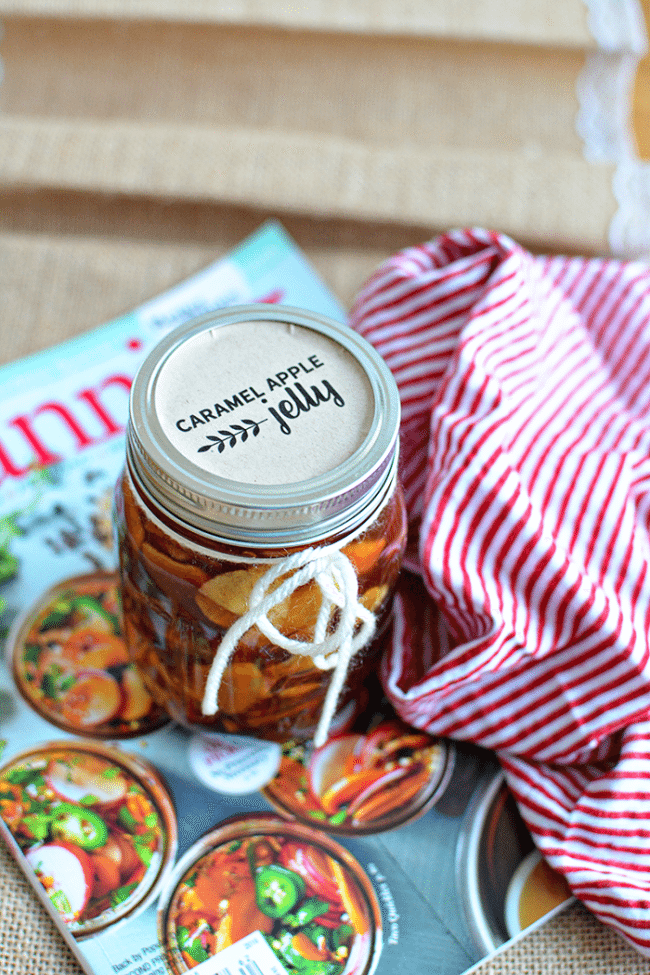 Make this amazing Caramel Apple Jelly - perfect to wrap up summer and welcome in fall. Get the recipe and free printable jar label at thirtyhandmadedays.com