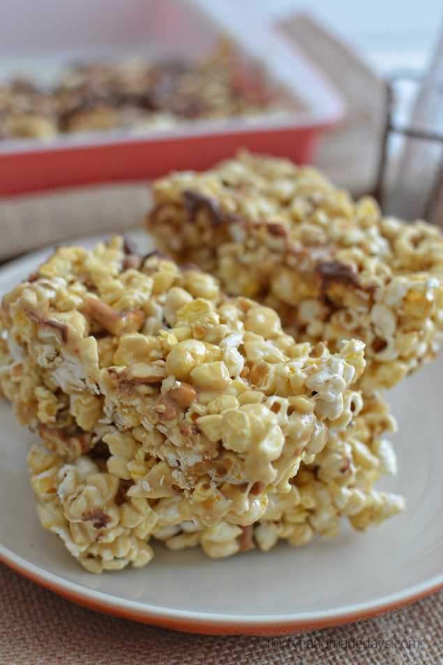 Caramel Popcorn Bars - perfect to use for Printable Halloween Wrappers from Thirty Handmade Days