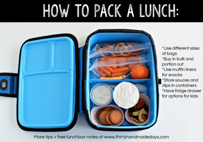 How to pack a lunch - Lunch box ideas your kids will love! Includes free printable lunchbox notes from www.thirtyhandmadedays.com