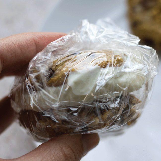 A healthier dessert option- Pumpkin Walnut Chocolate Chip Ice Cream Sandwiches!