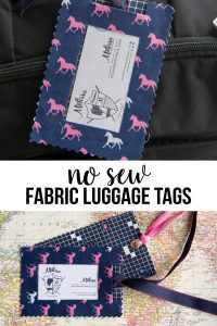 DIY Fabric Luggage Tags- so easy to make they are no sew!