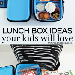Lunch box ideas your kids will love! Includes free printable lunchbox notes from www.thirtyhandmadedays.com