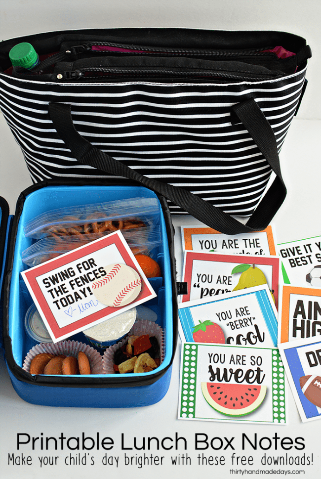 Lunch box ideas your kids will love! In partnership with Arctic Zone. Includes free printable lunchbox notes from www.thirtyhandmadedays.com