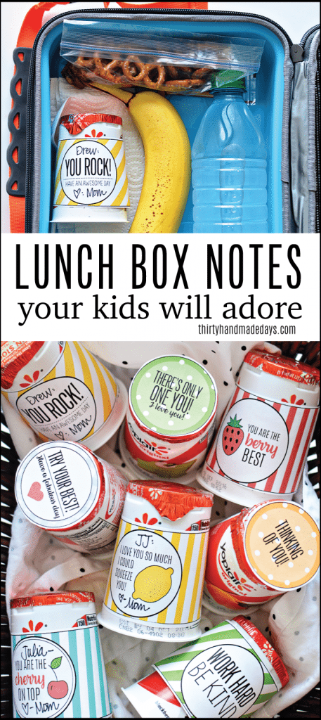 Your kids will feel the love with these cute back to school lunchbox notes! Free printables included from www.thirtyhandmadedays.com