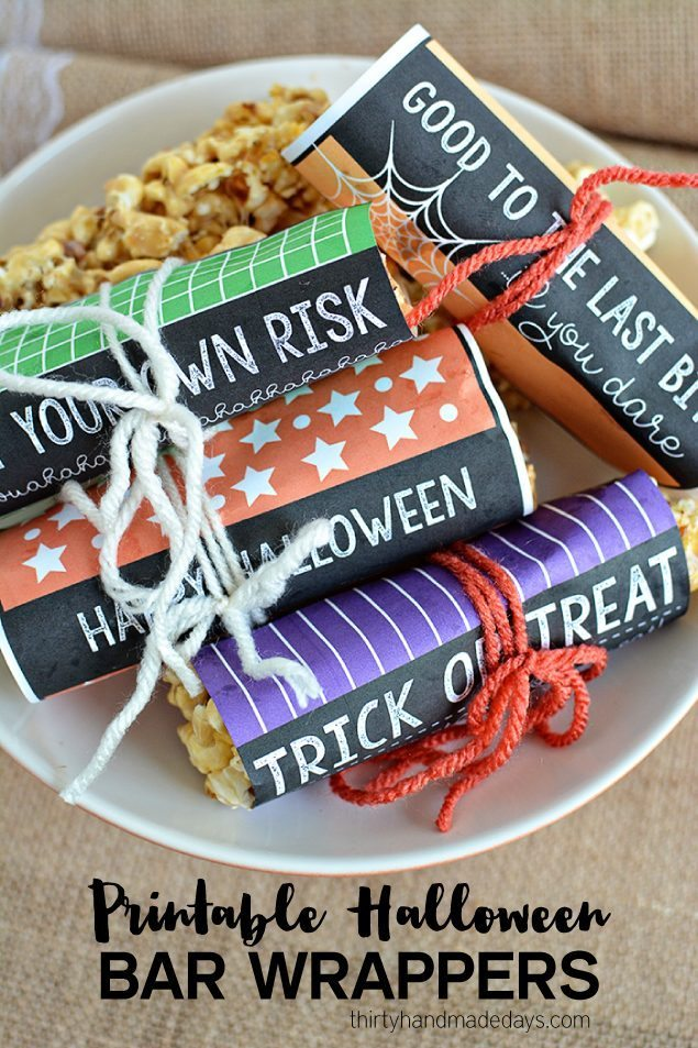 Super cute printable Halloween wrappers to use for treats for the holiday. From www.thirtyhandmadedays.com