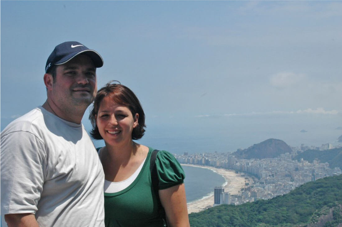 Josh and me in Brazil - view from Sugar Loaf