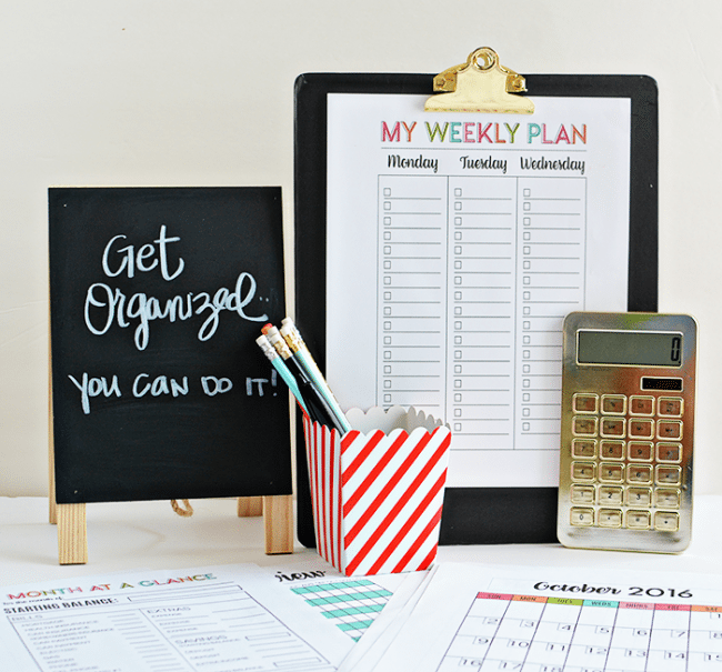 Get Organized with 30 printable pages- full of budgeting, a calendar and checklists. From thirtyhandmadedays.com